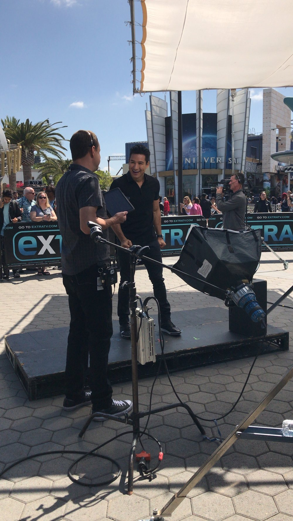 Mario Lopez on set at Extra TV