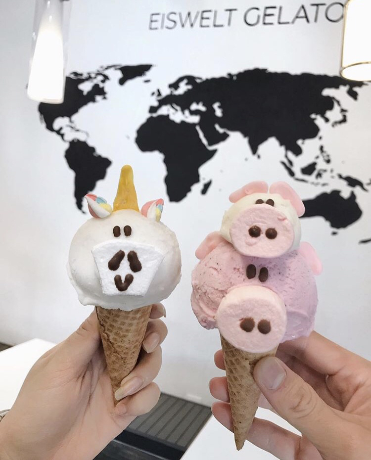Durian Gelato in a Unicorn Cone; Strawberry Sorbetto(bottom) and Coconut Gelato(top) in a Pig w/ Piglet Cone