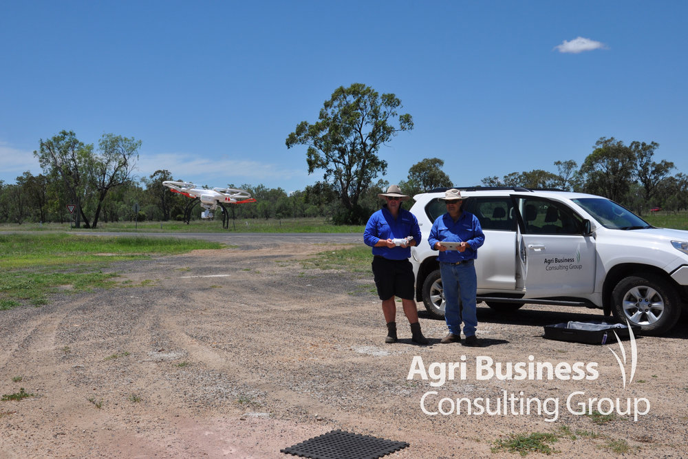 David Ward, ABCG General Manager/Chief Agronomist and Kris Henderson, ABCG Consultant flight testing a drone - NSW