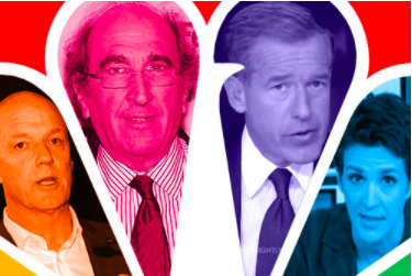 Photo Credit: MSNBC President Phil Griffin, NBC News Chairman Andrew Lack, Brian Williams, Rachel Maddow (Getty Images)