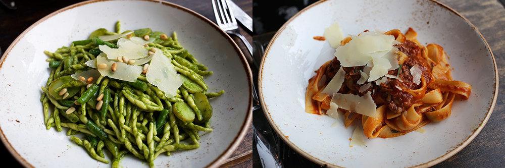 Trofiette al Pesto &Pappardelle al Ragout