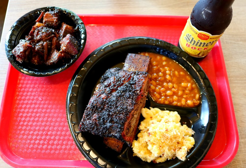 Wagyu Burnt Ends, Beef Rib, Baked Beans, Fried Mac and Cheese, & a Shiner