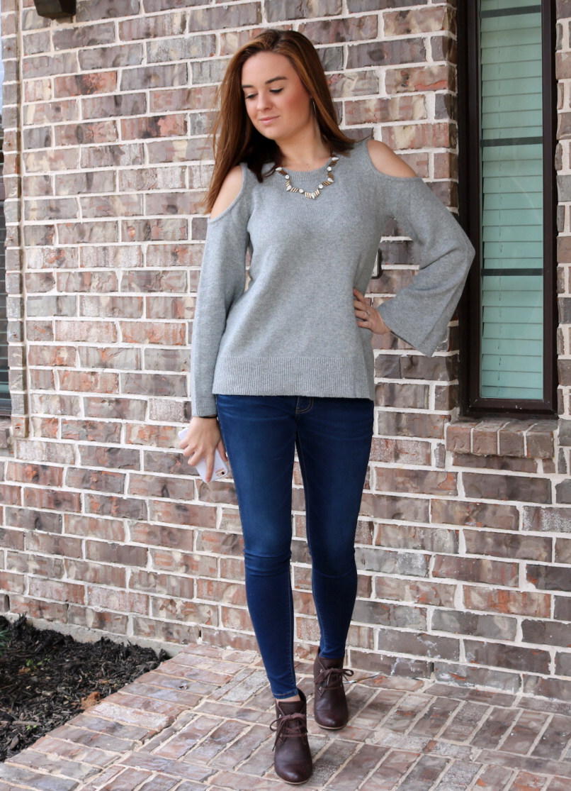 Everyday look, cold shoulder loft sweater