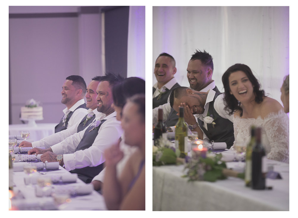 wedding reception bridal party laughter during speeches