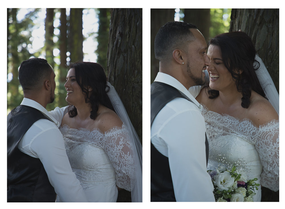 bride and groom in redwoods forest during wedding photos laughing together