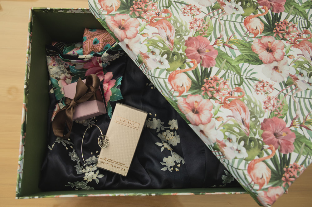 box of presents for bridesmaids