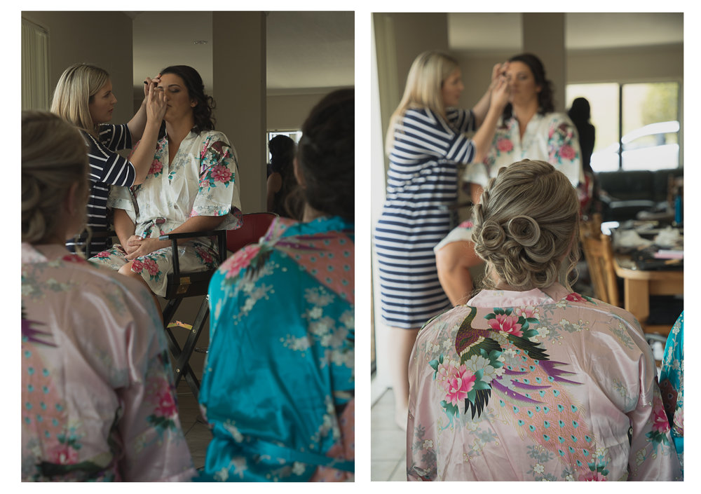 bridesmaids watching bride get her wedding makeup done
