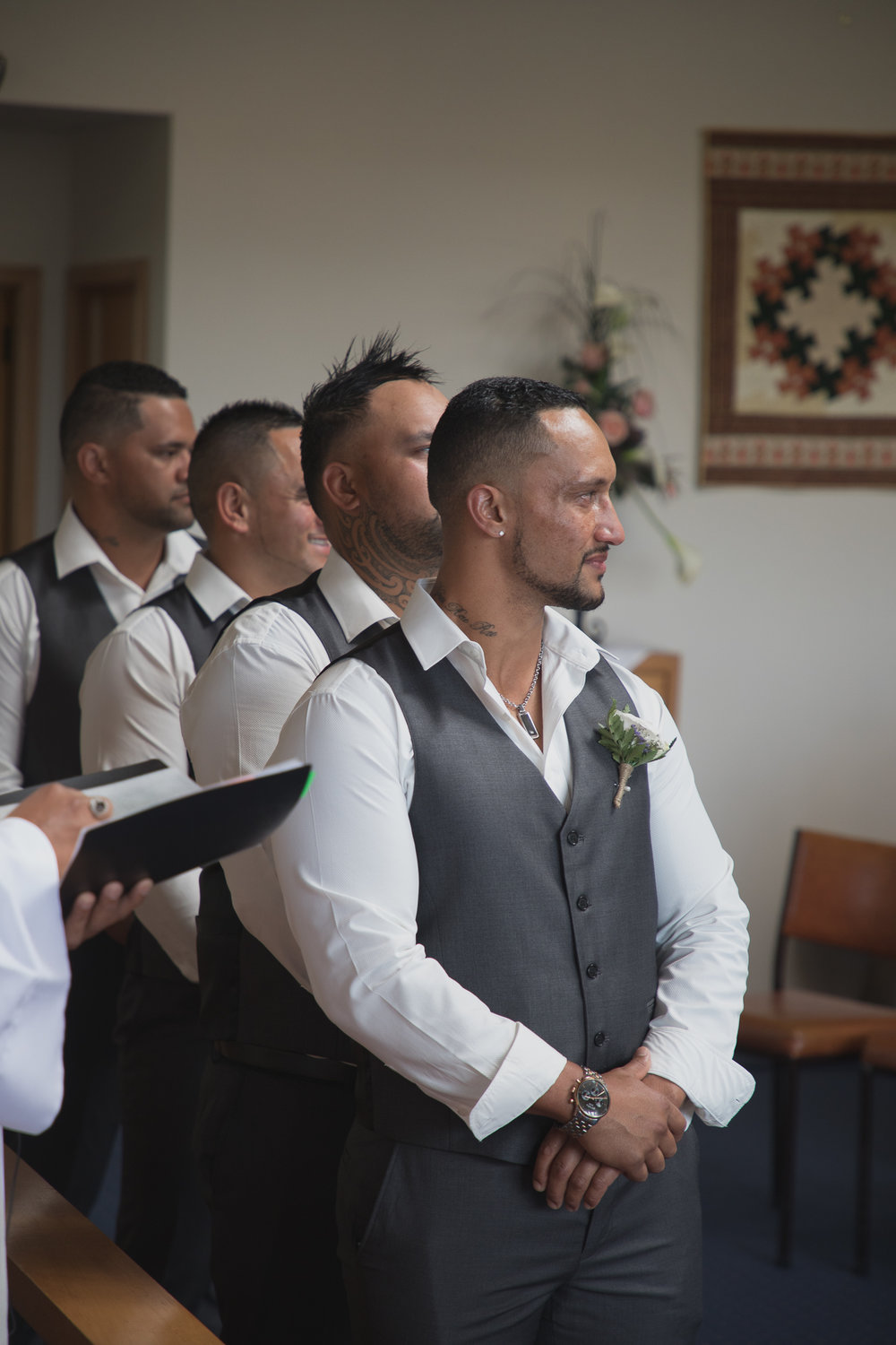 groom seeing bride in wedding dress for the first time