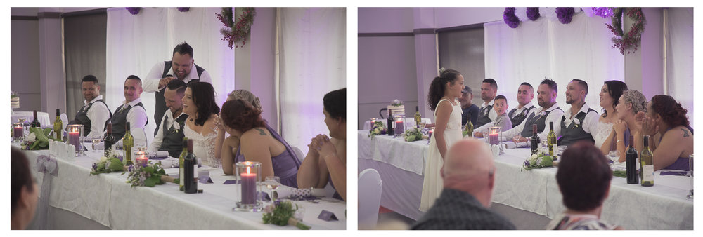 wedding reception laughter during speeches