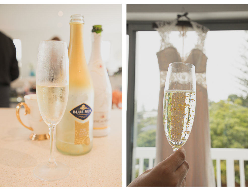 champagne and wedding dress