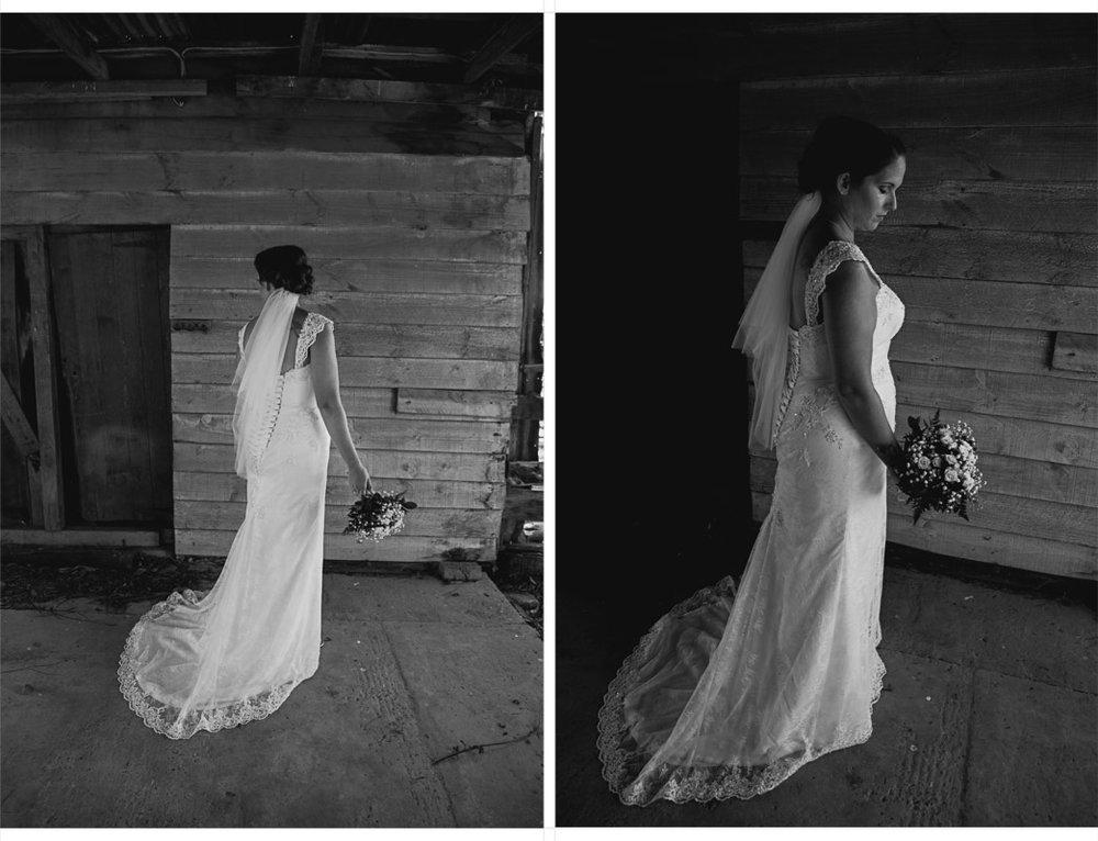bride in wedding dress in old barn