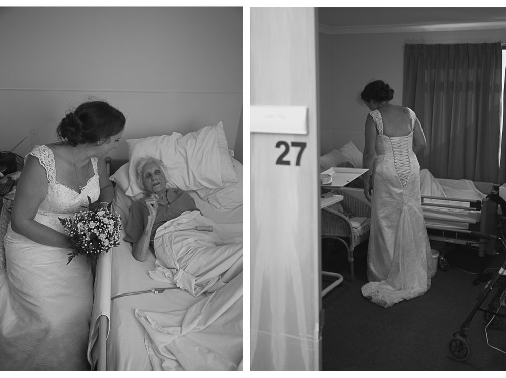 Bride and groom visit grandmother in hospital on wedding day