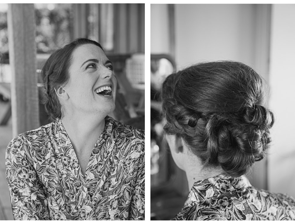 Maid of honour laughing getting wedding ready