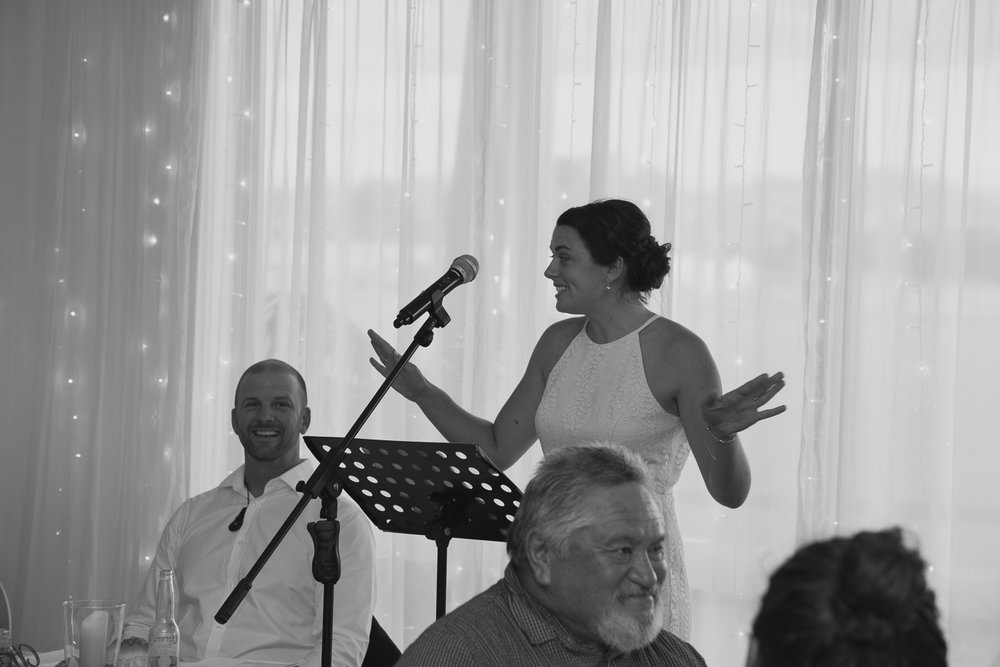 Maid of honour speech during Wedding reception