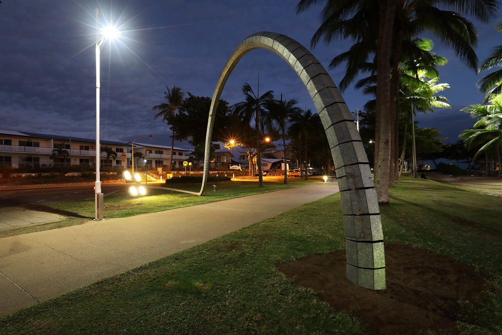 This artwork by Robbie Rowlands utilized a decommissioned 20m light pole to create a sculpture for the Strand in Townsville