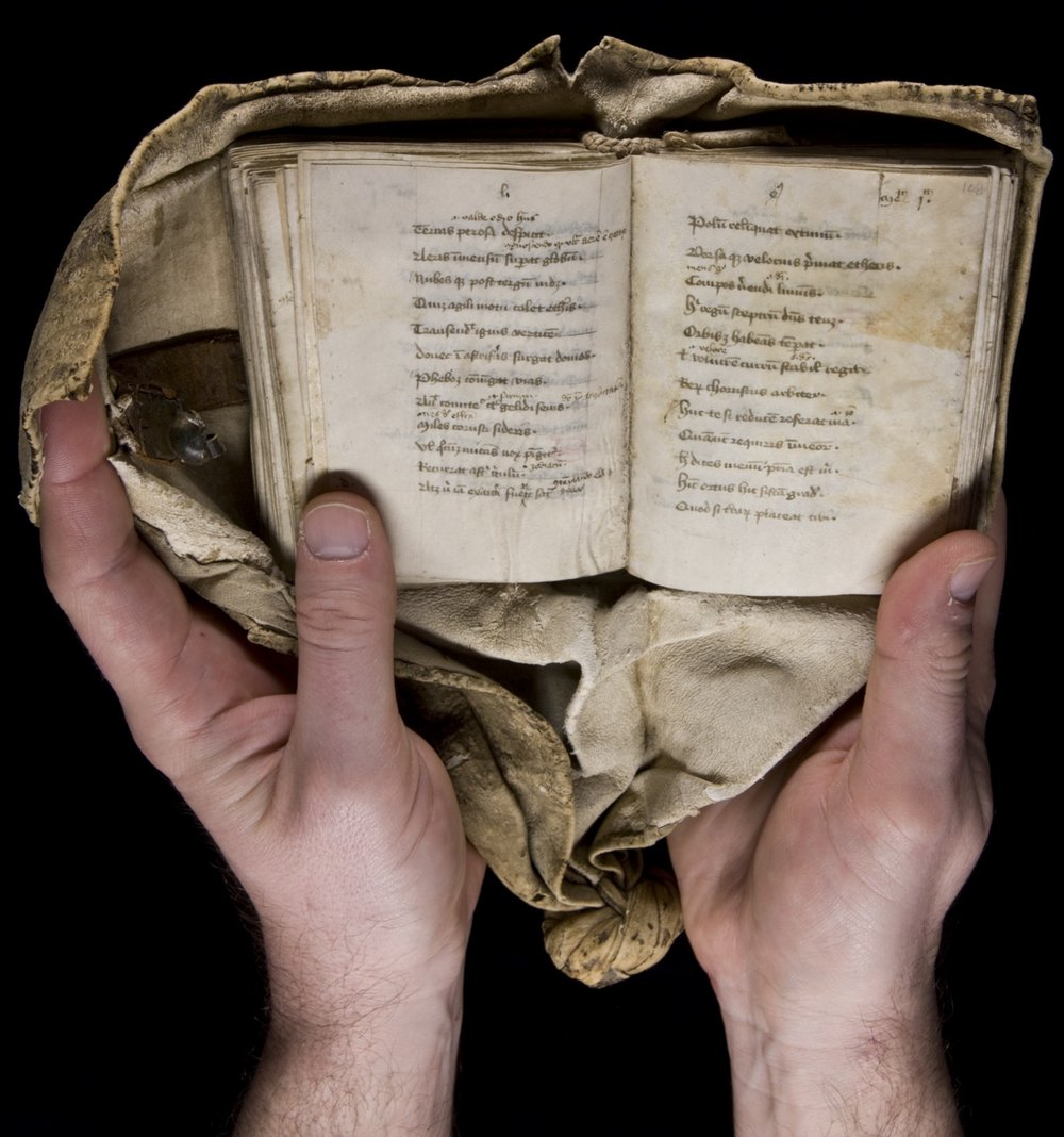 15th-century girdle book from Yale's Beinecke Rare Book and Manuscript Library . Licensed under  CC BY-SA 2.0 . My thanks to  Jennifer Brook  for pointing me in the direction of girdle books.