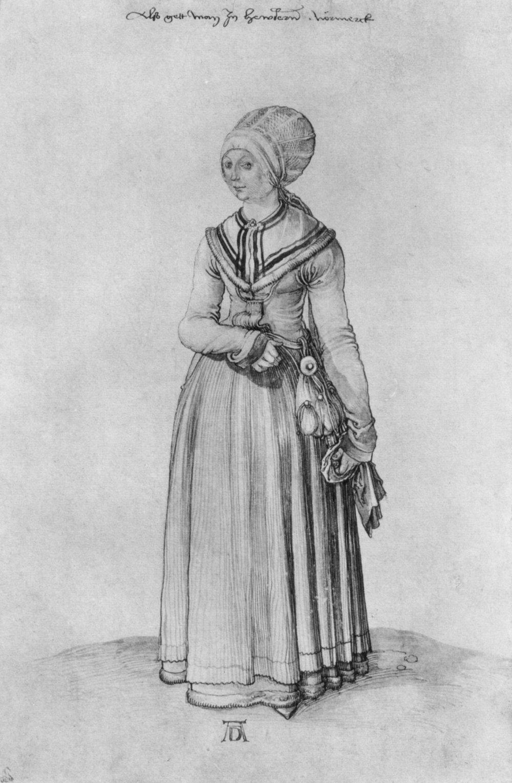 Nuremberg woman in house dress , Albrecht Dürer, circa 1500–1501. Public domain.