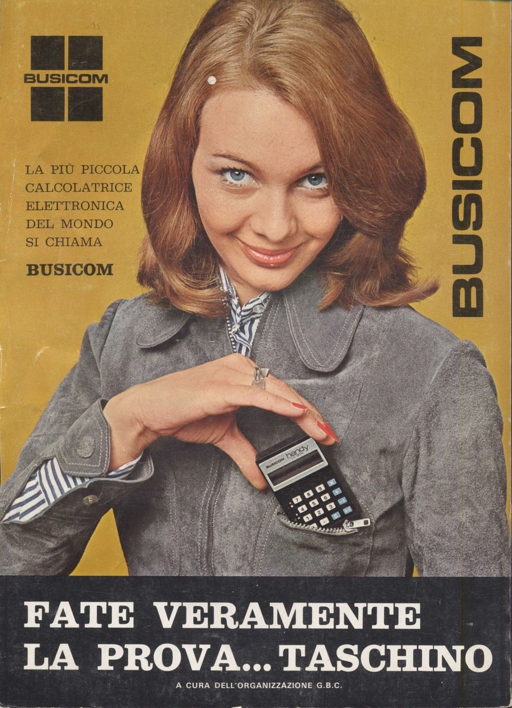 Early 1970's Italian calculator advert, posted to Flickr by Matthew Rutledge.