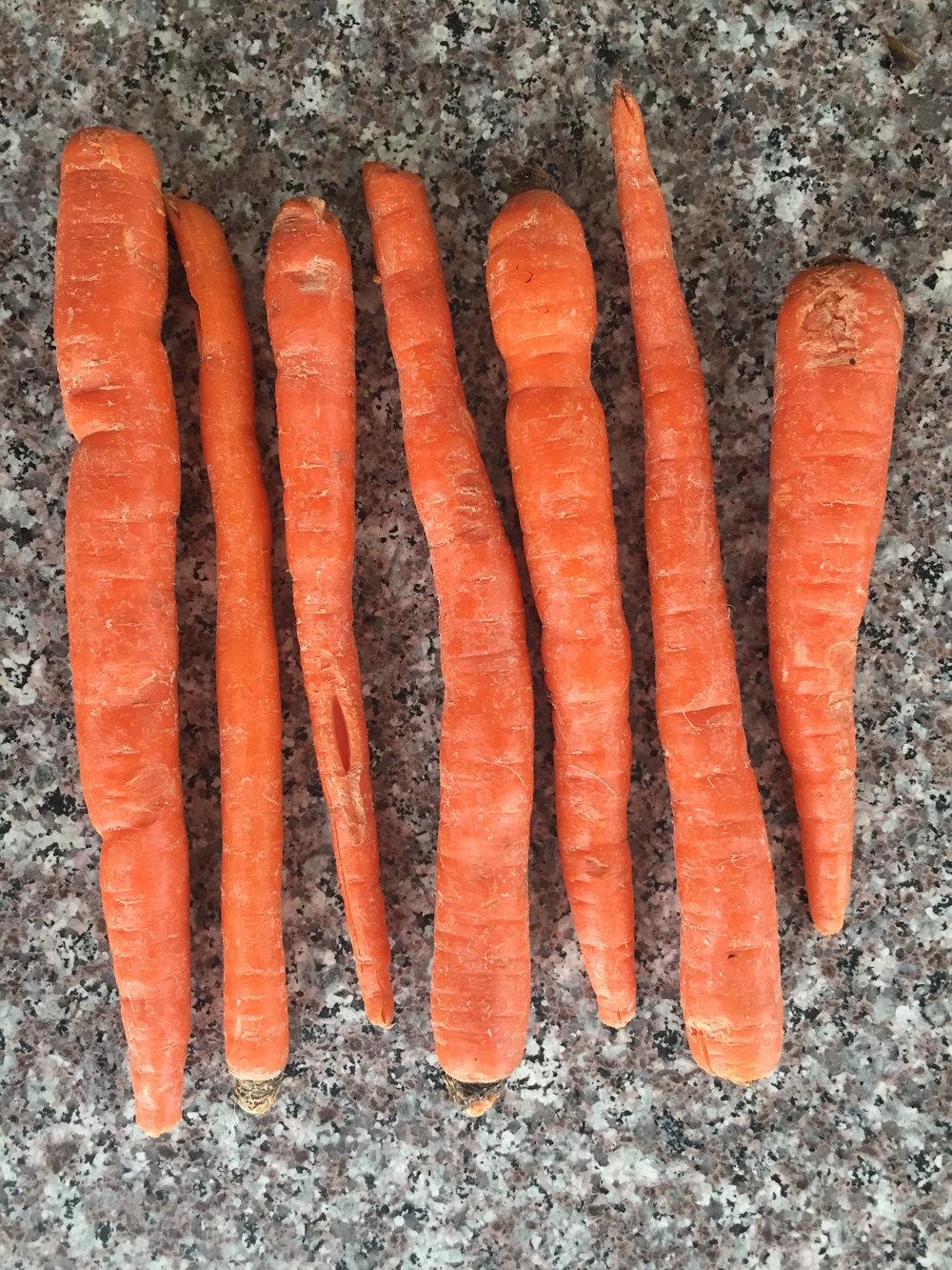 raw unpeeled carrots