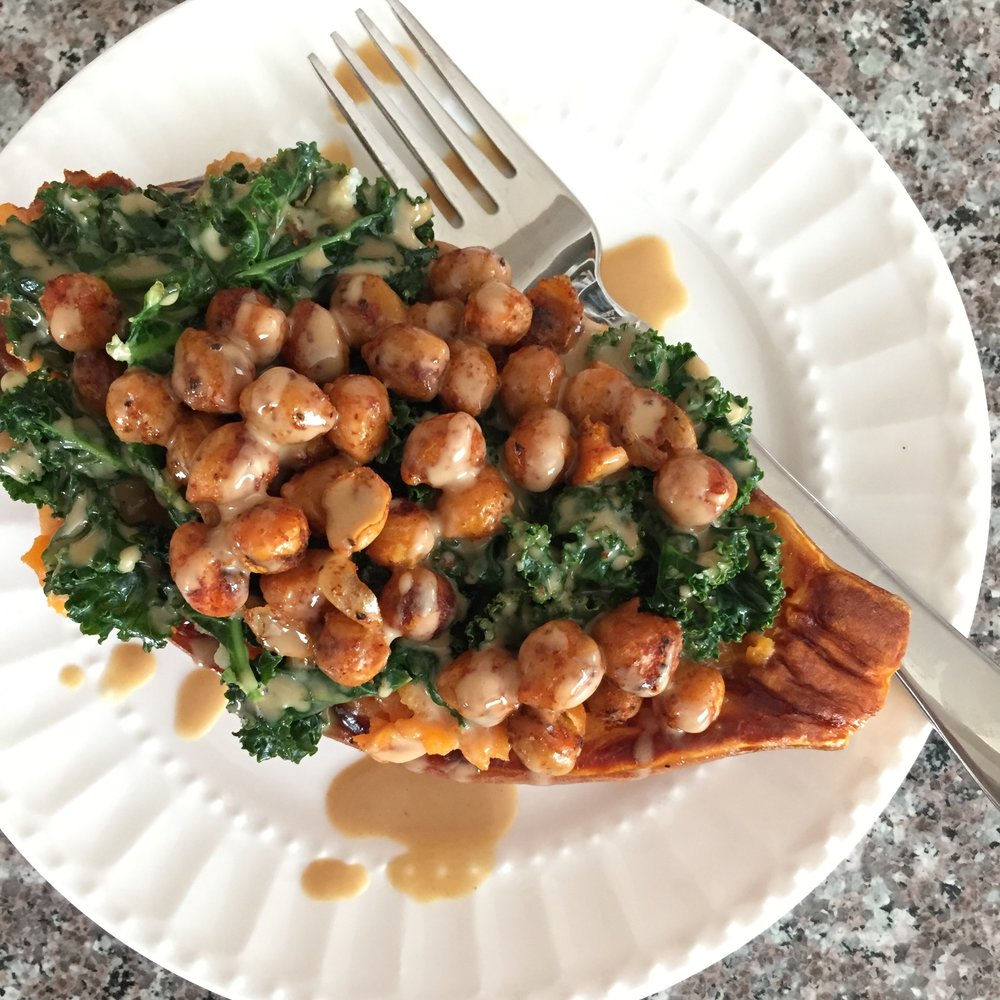 chickpea and kale stuffed sweet potato