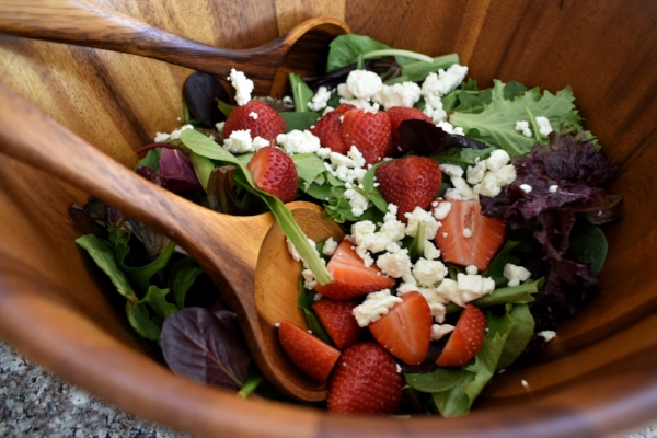 strawberry feta spring salad in salad bowl