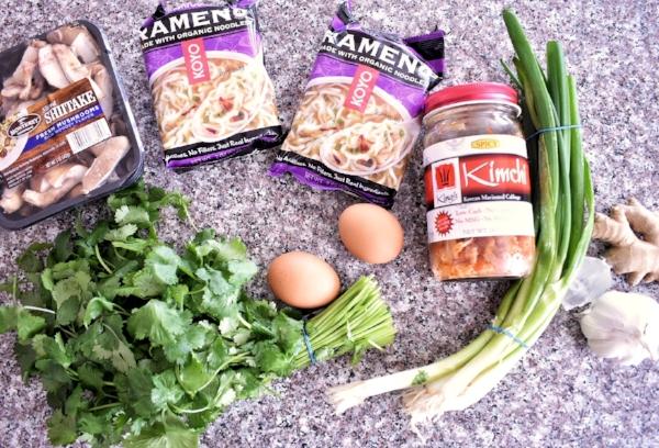 kimchi shiitake mushroom ramen ingredients