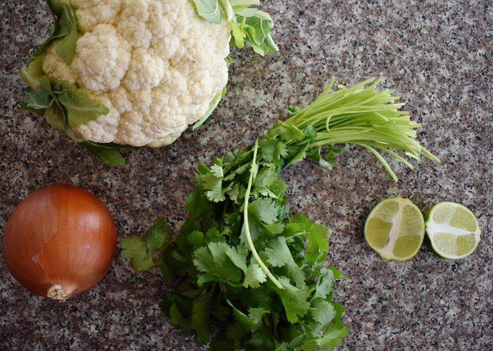 aromatics cilantro, onion, limes, cauliflower