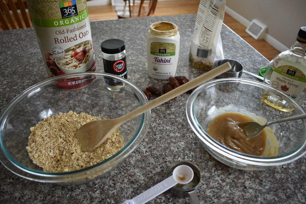 dry ingredients and wet ingredients maple tahini balls