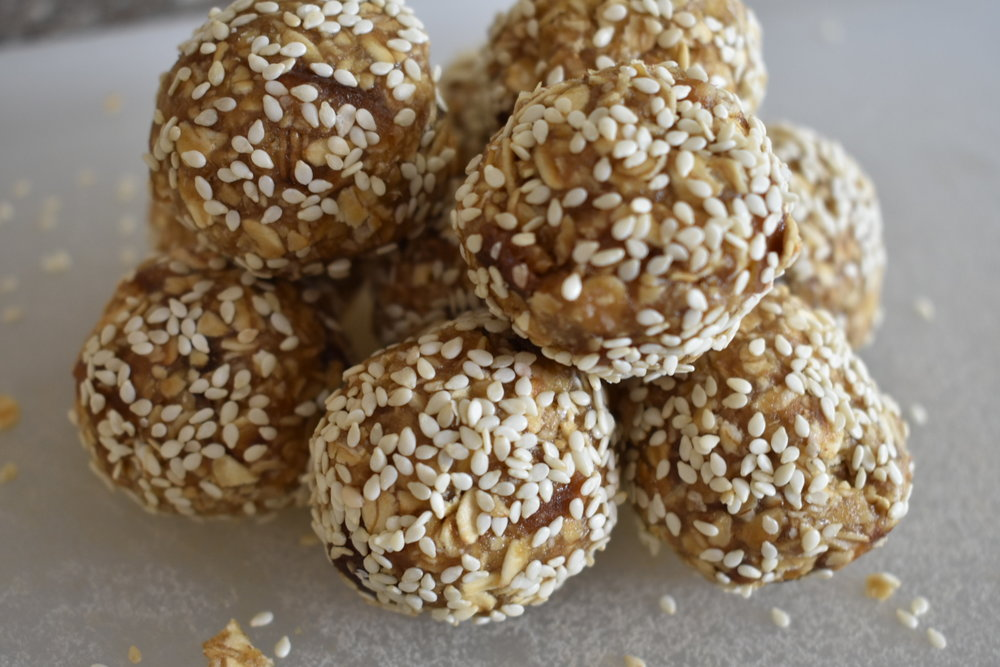 maple tahini balls stacked up