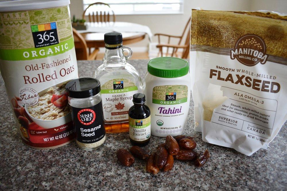 ingredients to make maple tahini snack balls