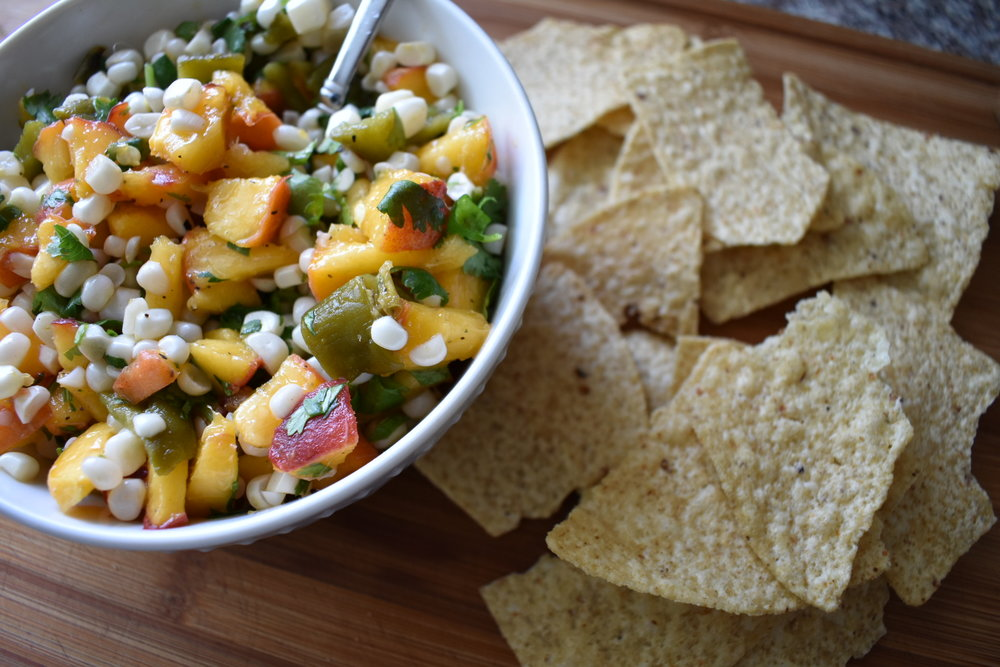 peach corn and hatch green chile salsa with chips