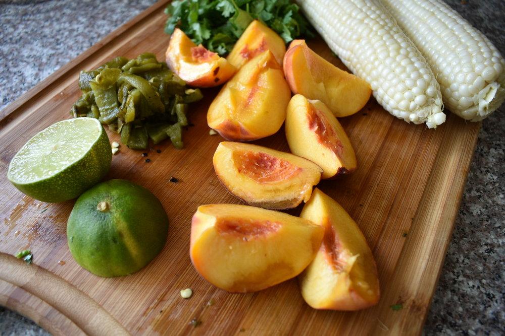 salsa ingredients on a cutting board