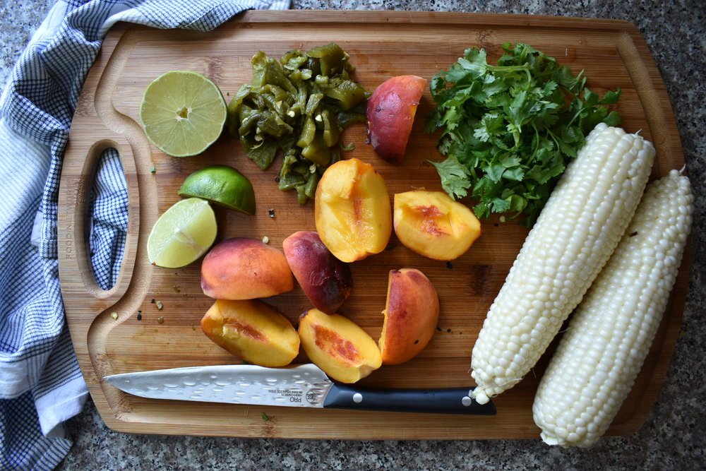 ingredients for peach corn and hatch chile salsa