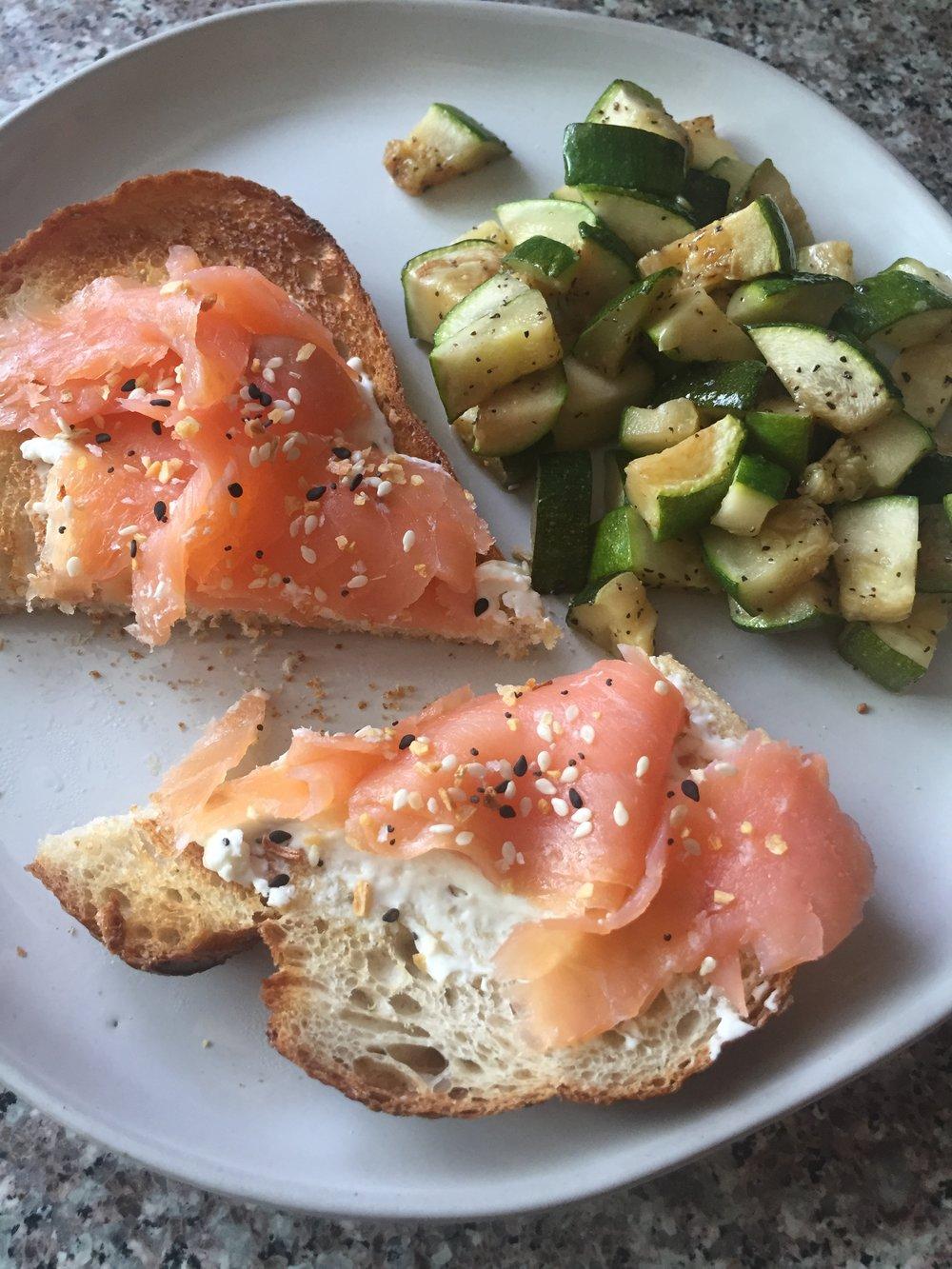 smoked salmon toast with zucchini