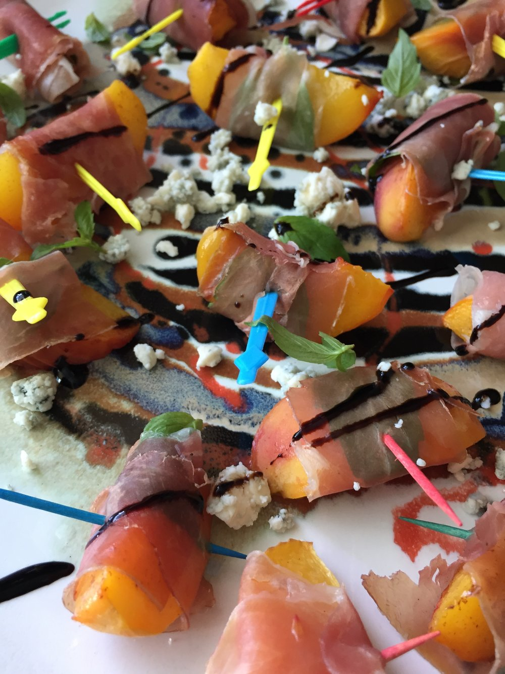 Prosciutto Wrapped Peaches with Basil & Bleu Cheese