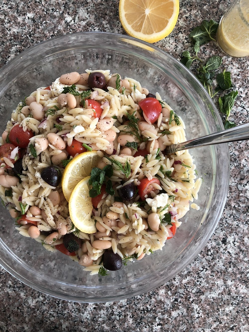 Greek Orzo Salad with Lemon Dijon Dressing