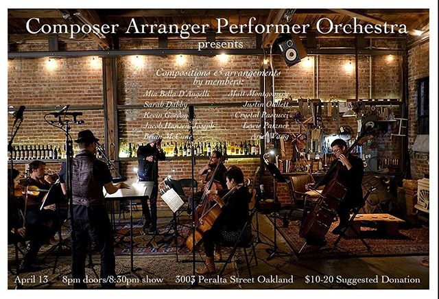 Our CAPO concert is tonight! Come check out a string #orchestra in a West #Oakland warehouse perform mostly #original works ❤️ #newmusic #cellist #classicalmusic #livemusic #femalecomposer