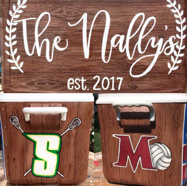 A custom painted cooler created to highlight your special day is the most unique, fun, and useful gift for an awesome wedding! -