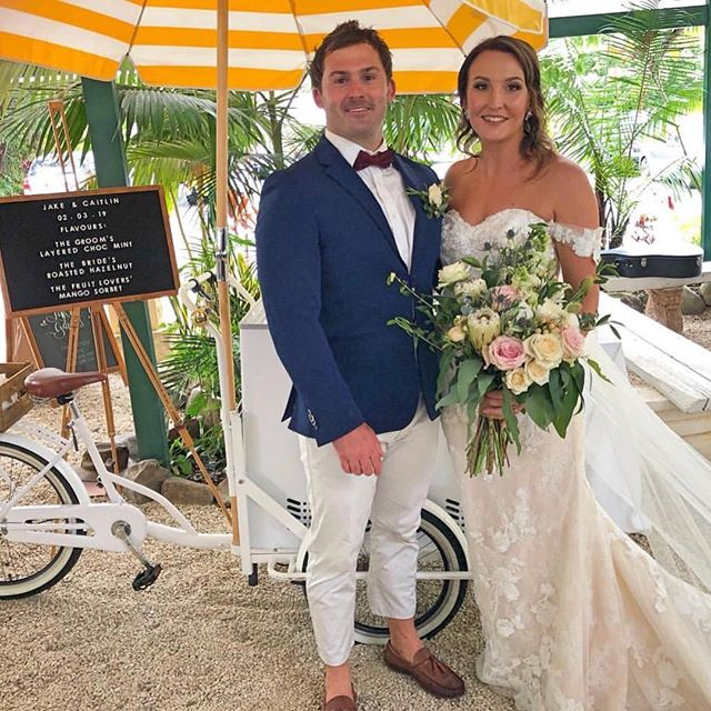 Our gorgeous newlyweds❣️Caitlin & Jake enjoying some sweet moments @wheelsndspoon