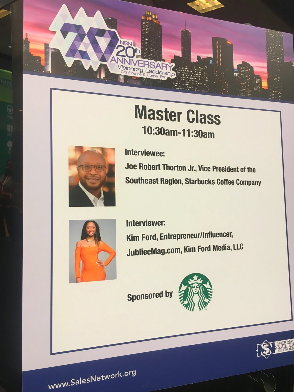 Led a master class series for the National Sales Network with the regional VP of Starbucks, Joe Robert Thornton, Jr.