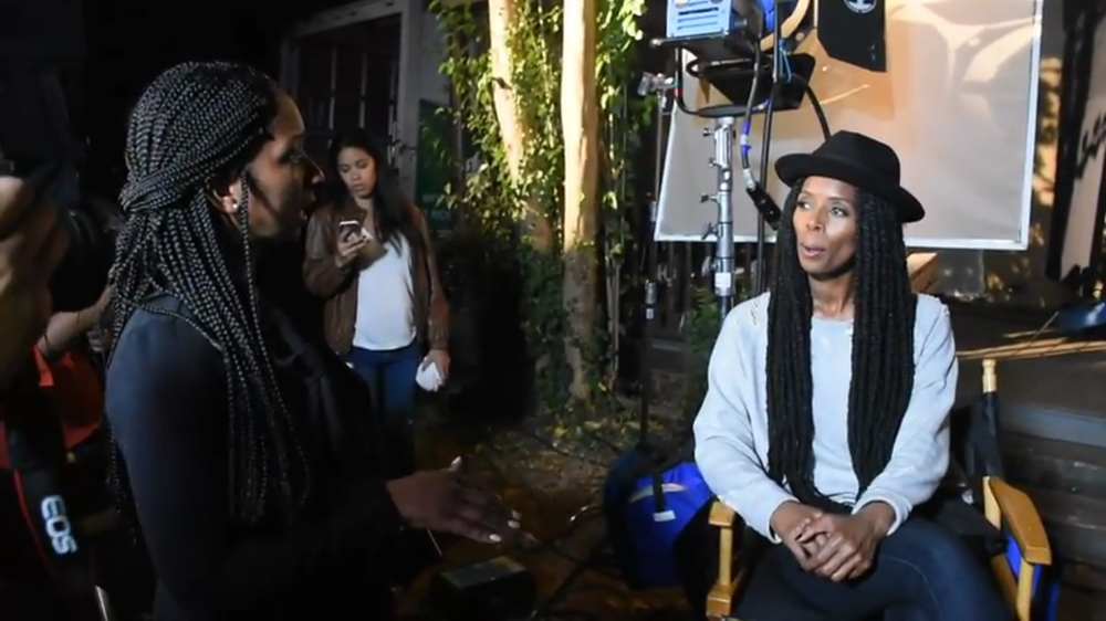 Film set visit with TVOne and Tasha Smith.