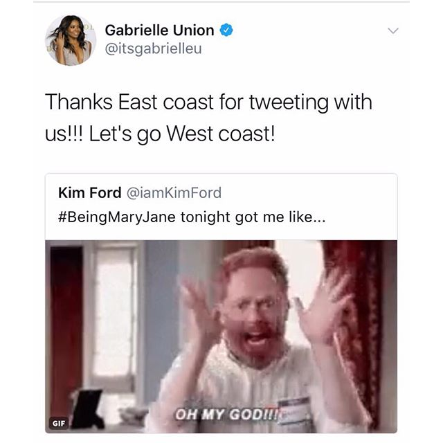 Just over here live tweeting with my girl @gabunion... 🙃 #BeingMaryJane #SeasonFinale
