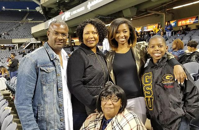 If you went to a HBCU, you know the weight of family tradition. The last time I was here, I was dancing on the field. Now we're here from Atlanta and D.C. supporting my Jalin. Family is EVERYTHING. My cousin, her husband, my 70 year old aunt and my son. #Gramfam #ChicagoFootballClassic