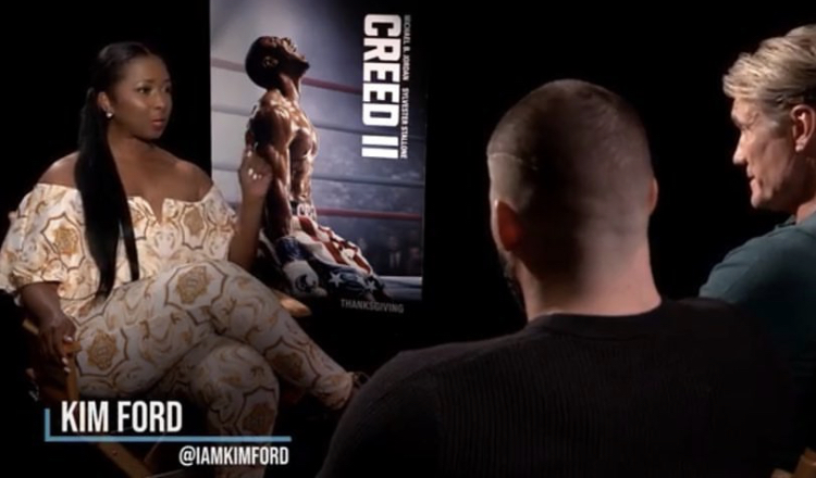 Creed 2 press junket with cast.