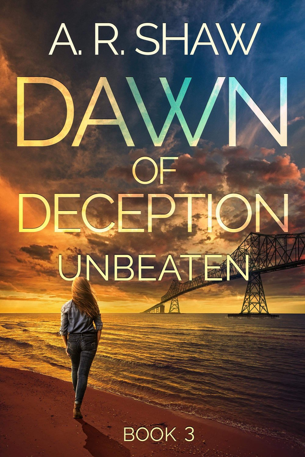 Unbeaten: Dawn of Deception Book 3 - Description from Book 1: In a post-apocalyptic world, Sloane Delaney struggles to keep her daughters safe. With all her neighbors gone and her abusive second husband dead, Sloane and her daughters, Mae and Wren, maintain a dangerous charade to keep looters at bay from their neighborhood. When young Nicole shows up on their doorstep, nearly dead from dehydration and starvation as a result of her father's growing paranoia, she joins the determined group as they adjust to life without most of the luxuries they had previously taken for granted. Aided by a pack of abandoned dogs, the women are able to project an image of an occupied and active neighborhood until corrupt FEMA agents arrive on the scene, threatening their hard-won sense of security. Fleeing their now-unsafe home, Sloane and her girls head for the woods and an abandoned old house Sloane is sure will be a safe haven for at least a few days. She doesn't count on the handsome and helpful Dr. Kent having also taken refuge there. With her girls' lives on the line, can Sloane learn to trust again in this dangerous new world?