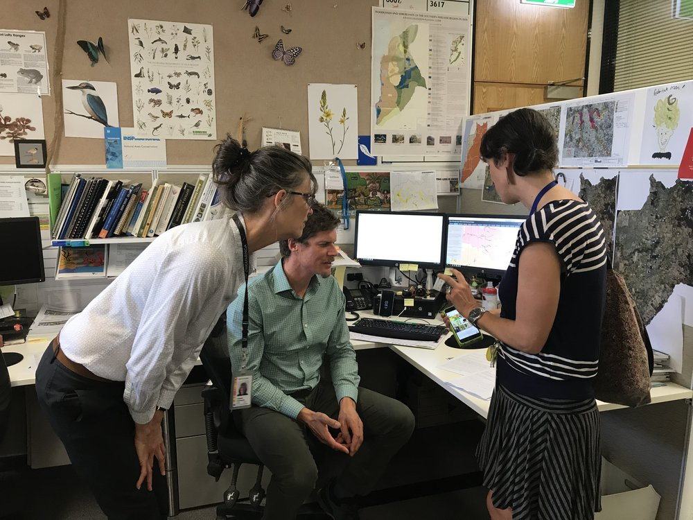 Laura Wills collaborating with City of Onkaparinga's Conservation Team members