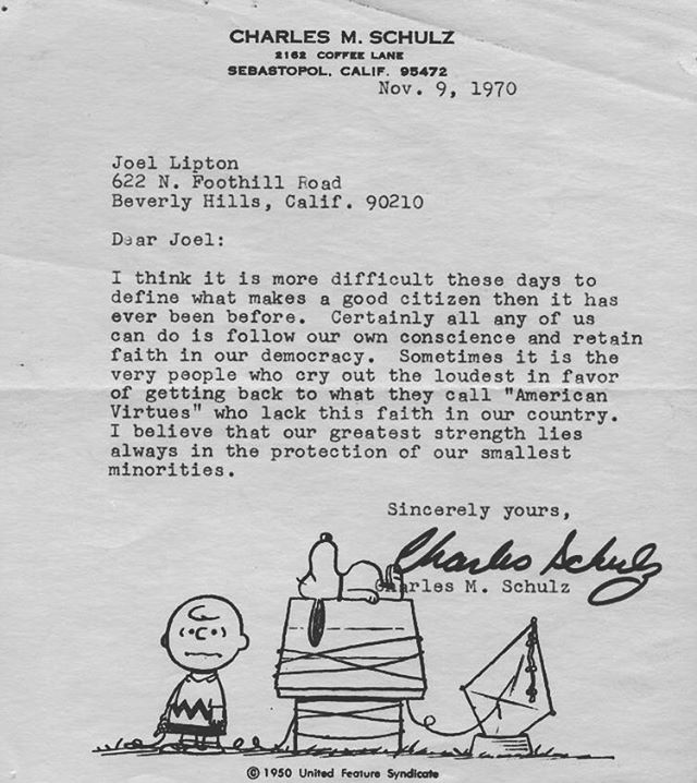 #charliebrown creator Charles M. Schulz wrote this letter in response to a question from a 5th grade student.