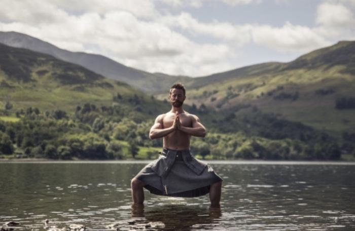 Finlay Wilson photographed by Simon Buxton for Kilted Yoga