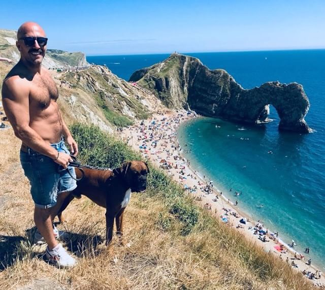 Q&C // Luca Rye and Bruto the dog, Durdle Door, Dorset    @lucarye