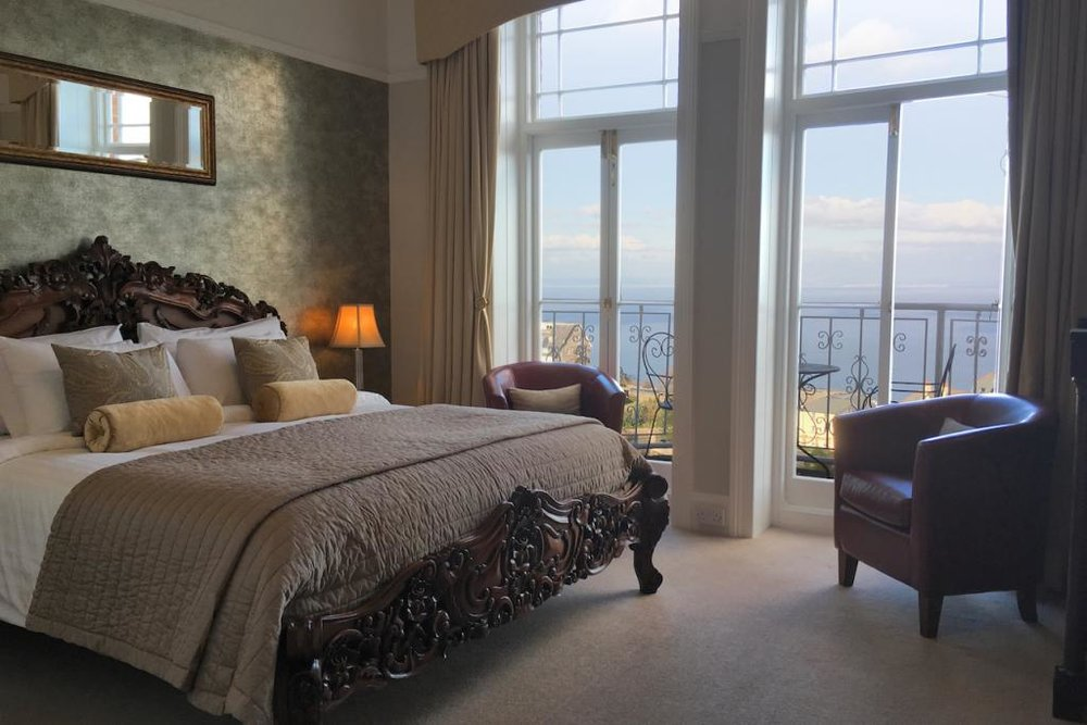 One of the bedrooms, with incredible sea views